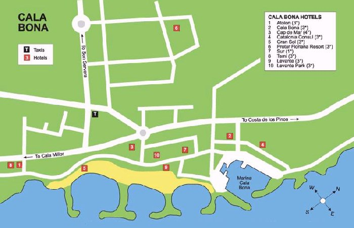 Cala Bona Street Map and Travel Guide