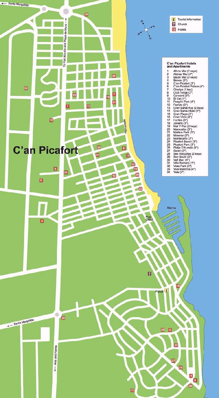 C An Picafort Street Map And Travel Guide