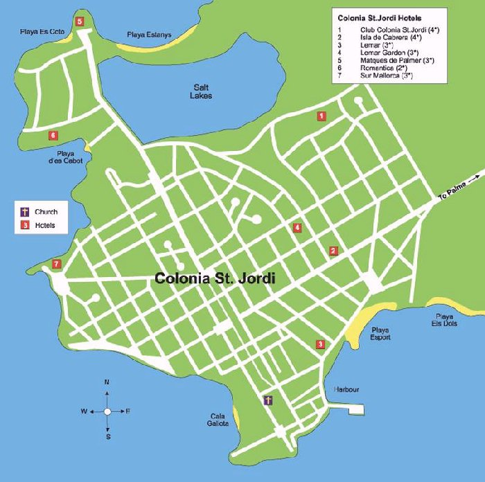 Colonia Sant Jordi Street Map and Travel Guide