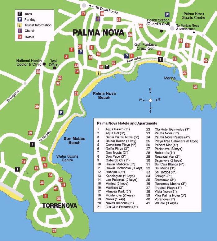 Palma Nova Street Map and Travel Guide