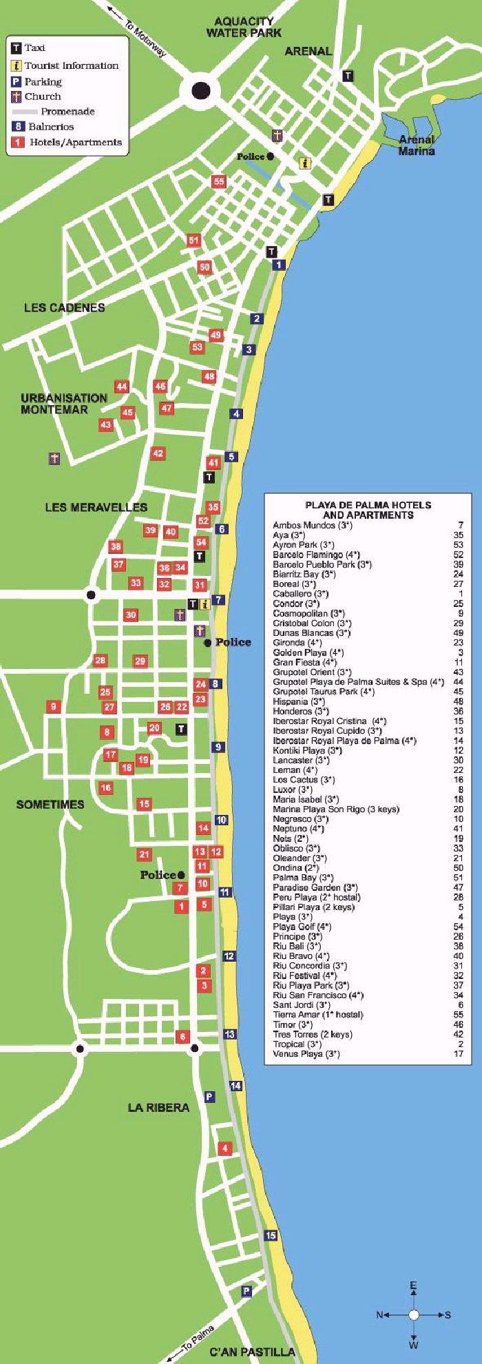 Playa De Muro Karte.Playa De Palma Street Map And Travel Guide