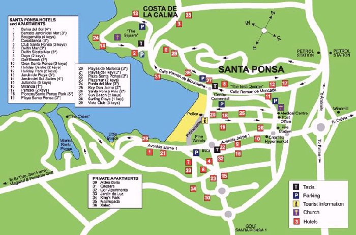 Santa Ponsa Street Map and Travel Guide