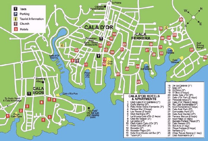 Map Of Cala D Or Cala d'or Street Map and Travel Guide Map Of Cala D Or