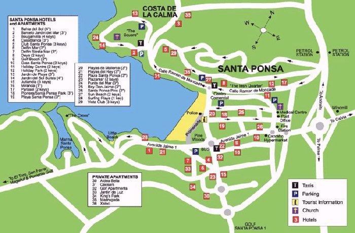 Santa Ponsa Map Santa Ponsa Street Map and Travel Guide Santa Ponsa Map